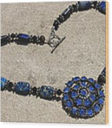 Vintage Sapphire Rhinestone Brooch Pendant Necklace 3635n Wood Print
