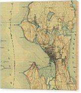 Vintage Seattle Map Wood Print
