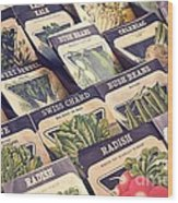 Vintage Seed Packages Wood Print by Edward Fielding