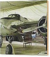 Vintage Silver Bomber Airplane Wood Print
