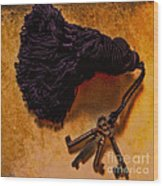 Vintage Skeleton Keys Tassled Gold Wood Print