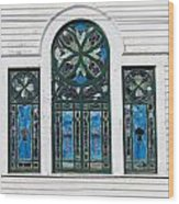 Vintage Stained Glass Windows Wood Print