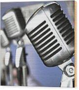 Vintage Standing Radio Microphones Wood Print