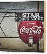 Vintage Star Drug Store Wood Print by Perry Webster