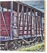 Vintage Steam Locomotive Carriages Wood Print