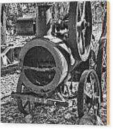 Vintage Steam Tractor Black And White Wood Print