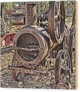 Vintage Steam Tractor Wood Print