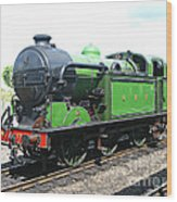 Vintage Steam Train In Green  Wood Print