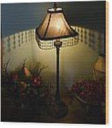 Vintage Still Life And Lamp Wood Print