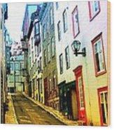 Vintage Style City Street Scene Photograph Wood Print