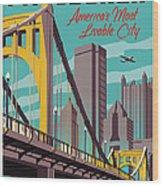 Pittsburgh Poster - Vintage Travel Bridges Wood Print