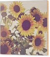 Vintage Sunflowers In The Garden Wood Print