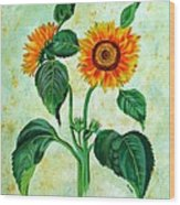 Vintage Sunflowers Wood Print