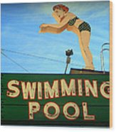 Vintage Swimming Lady Hotel Sign Wood Print