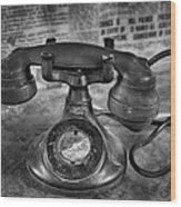 Vintage Telephone In Black And White  Wood Print