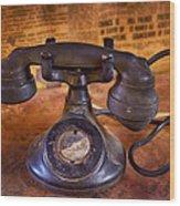 Vintage Telephone  Wood Print