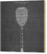 Vintage Tennnis Racket Patent Drawing From 1887-dark Wood Print
