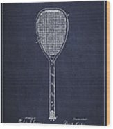 Vintage Tennnis Racket Patent Drawing From 1887-navy Blue Wood Print