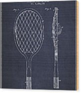 Vintage Tennnis Racket Patent Drawing From 1921 - Navy Blue Wood Print