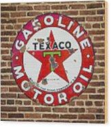 Vintage Texaco Gasoline Sign Dsc07195 Wood Print