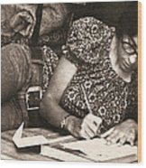 Vintage Young Woman Writing  Wood Print