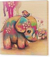 Vintage Tie Dye Elephants Wood Print