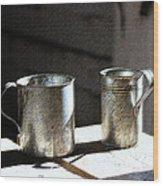 Vintage Tin Cups Wood Print