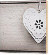 Vintage Tin Heart Wood Print by Jane Rix