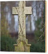 Vintage Tombstone Cross Wood Print