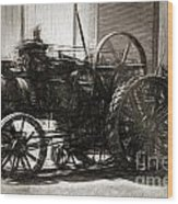 Vintage Tractor Drawing In Industrialised 1900s Wood Print