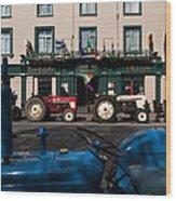 Vintage Tractors Lined Wood Print