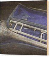 Vintage Trombone Wood Print