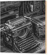 Vintage Typewriter Wood Print by Adrian Evans