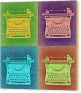 Vintage Typewriter Pop Art 1 Wood Print