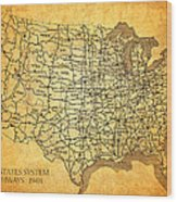 Vintage United States Highway System Map On Worn Canvas Wood Print