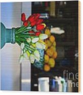 Vintage Vase And Rose Wood Print by Bobby Mandal