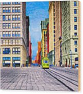 Vintage View Of New York City - Union Square Wood Print