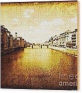 Vintage View Of River Arno Wood Print
