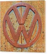 Vintage Volkswagen Bus Logo Wood Print