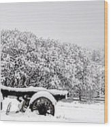 Vintage Wagon In Snow And Fog Filled Valley Wood Print