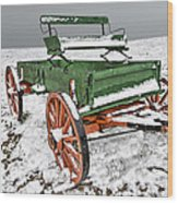 Vintage Wagon In The Snow E98 Wood Print