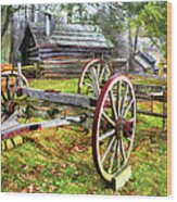 Vintage Wagon On Blue Ridge Parkway I Wood Print by Dan Carmichael