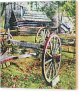 Vintage Wagon On Blue Ridge Parkway II Wood Print by Dan Carmichael