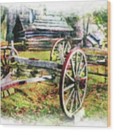 Vintage Wagon On Blue Ridge Parkway IIi Wood Print by Dan Carmichael