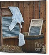 Vintage Washboard Laundry Day Wood Print