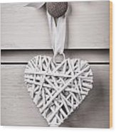 Vintage Wicker Heart Wood Print by Jane Rix