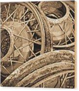 Vintage Wire Wheels Wood Print