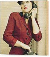Vintage Woman Wood Print