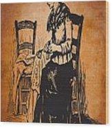 Vintage Women Color Art 14 Wood Print