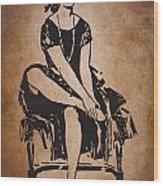 Vintage Women Color Art 63 Wood Print